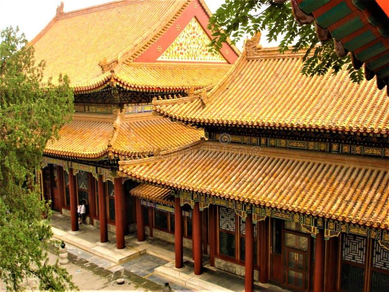 sommar f?r beijing porslinslott Traditionell byggnad, tid och historia arkivfoto