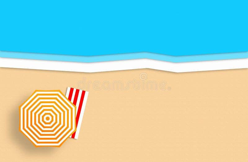 sommar f?r sn?ckskal f?r sand f?r bakgrundsbegreppsram Guld- sandig strand, hav och att koppla av st?llen Handgjord pappers- samm royaltyfri illustrationer