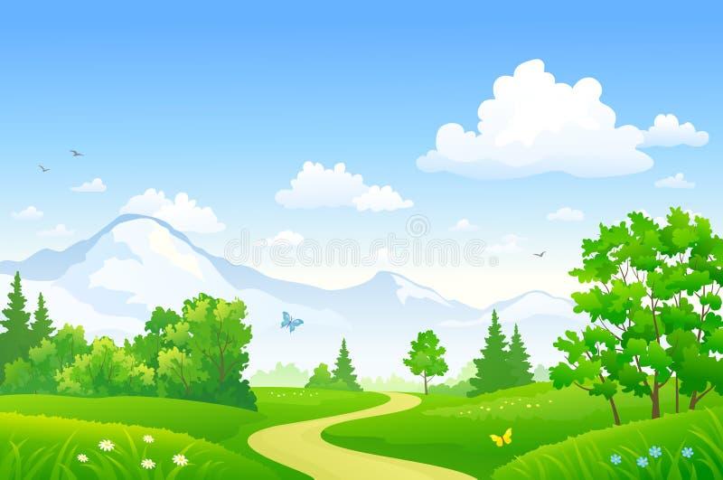 Sommar Forest Landscape stock illustrationer