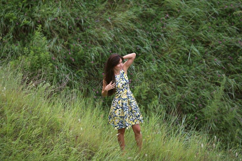 Sommar går på en grön ravin, en ung slank nätt flicka med långt brunt hår i gula sundress för en klänning, tycker om liv royaltyfria bilder