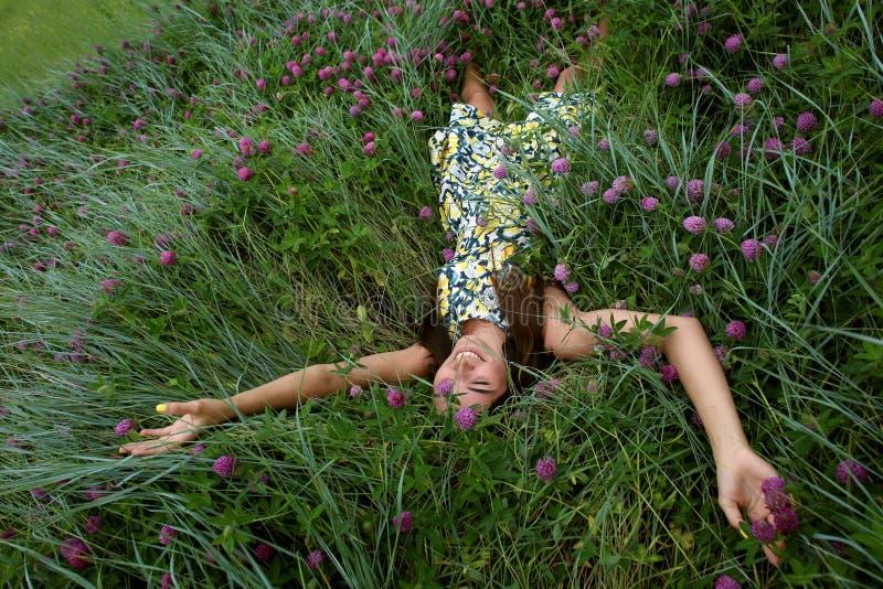 Sommar går på en grön ravin, en ung slank nätt flicka med långt brunt hår i gula sundress för en klänning, tycker om liv arkivbilder