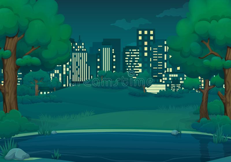 Sommar illustration för vårnattvektor Sjö eller flod med frodiga gröna träd och buskar cityscape i bakgrunden stock illustrationer