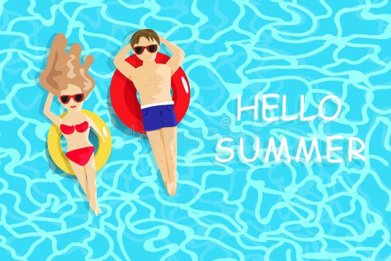 Sommar, man och dam som kopplar av på simbassängen, säsongsbetonad feriesemester, illustration för vektor för folklivsstilbakgrun vektor illustrationer