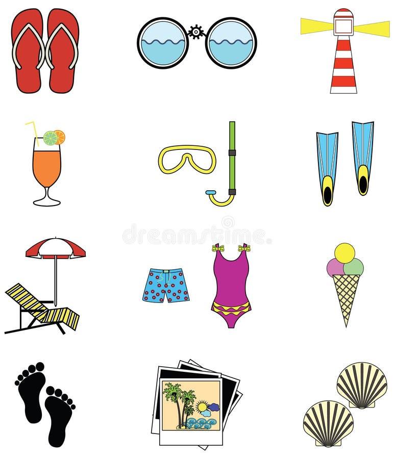 Sommar- och ferieattribut royaltyfri illustrationer