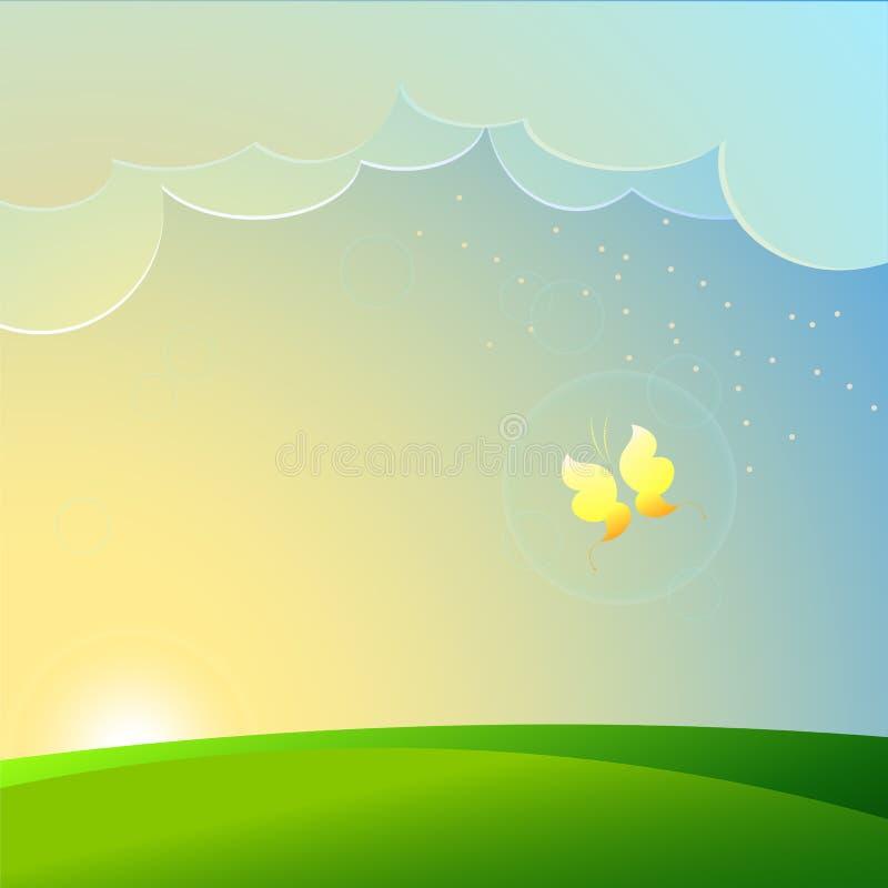 Sommar och fjäril på gryning stock illustrationer