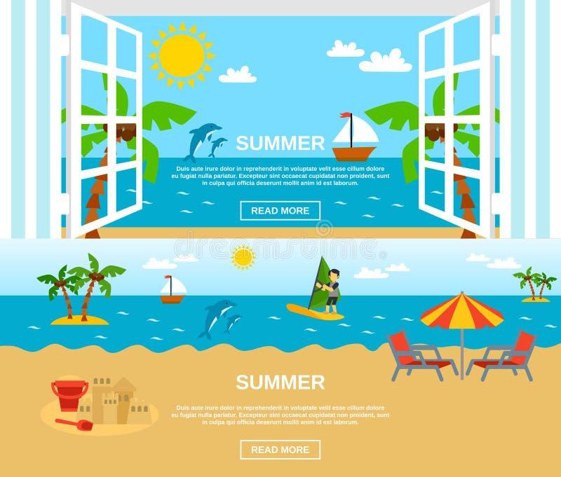 Sommar och strandbaneruppsättning royaltyfri illustrationer