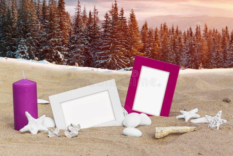 Sommar- och vintercollage med två fotoramar på stranden sandpapprar och snöar skogbakgrund arkivfoton