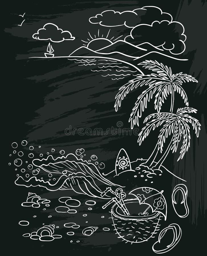 Sommar på den svart tavlan vektor illustrationer