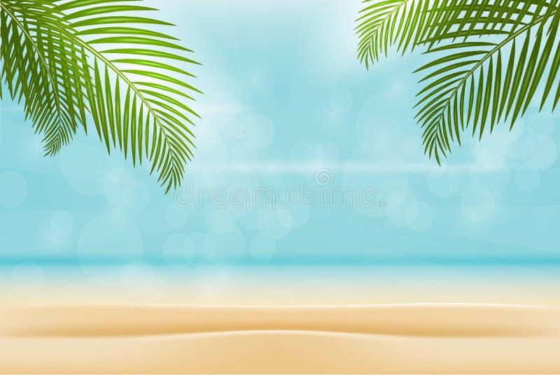 Sommar på strand isolerad bakgrund Den lyckliga mannen tycker om på ferier på havet royaltyfri illustrationer
