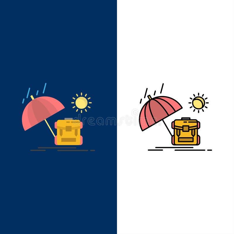 Sommar ryggsäck, sol, säsongsymboler Lägenheten och linjen fylld symbol ställde in blå bakgrund för vektorn vektor illustrationer