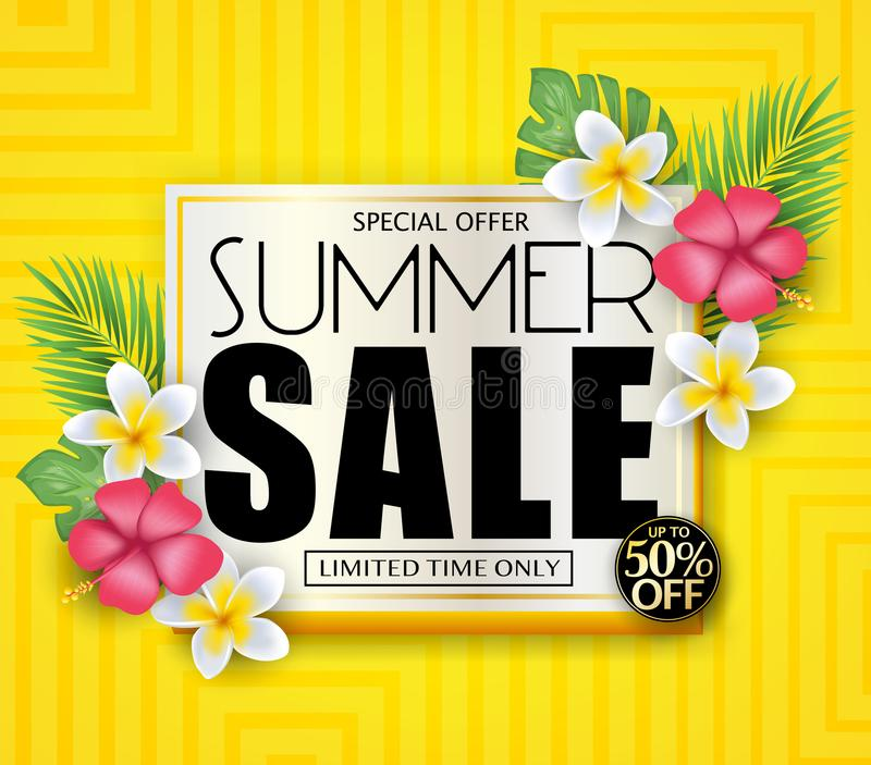 Sommar Sale för specialt erbjudande för inskränkt design för Tid endast befordrings- vektorillustration royaltyfri illustrationer