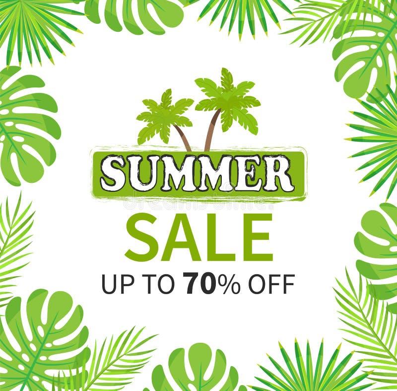Sommar Sale upp till 70 procent palmträdbaner royaltyfri illustrationer