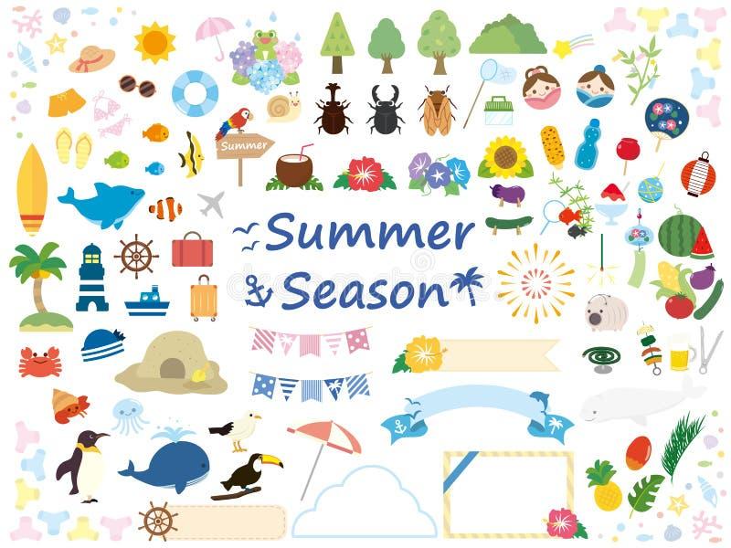 Sommar set6 vektor illustrationer