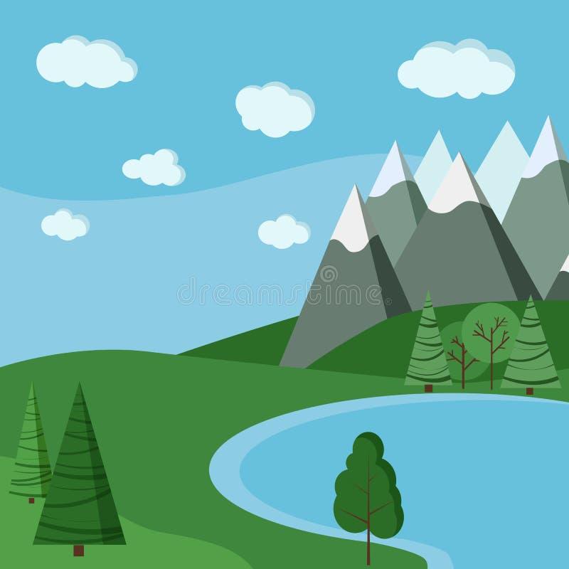 Sommar sjölandskap: fält sjö, himmel med moln, berg, gröna träd i plan tecknad filmstil vektor illustrationer