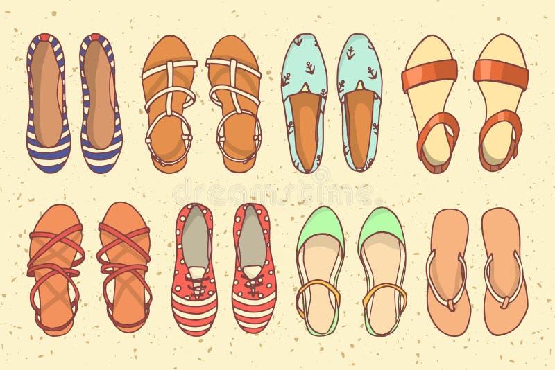 Sommar skor illustrationen royaltyfri illustrationer