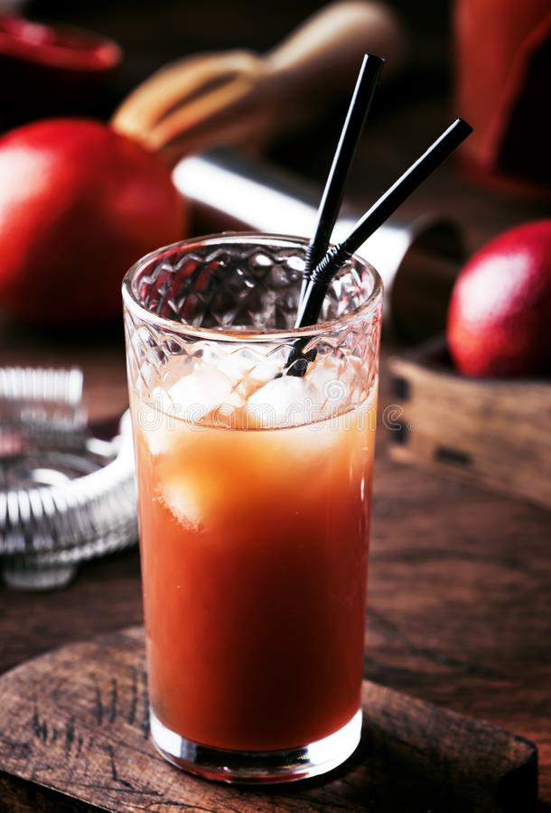 Sommar som förnyar den låga alkoholcoctailen med vodka, orange fruktsaft, den blodiga apelsinen och is Varm dag på strandstången  arkivbild