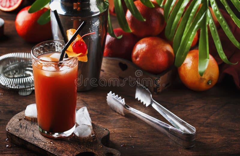 Sommar som förnyar den låga alkoholiserade coctailen med vodka, orange fruktsaft, den blodiga apelsinen och iskuber table trä Sel arkivbild