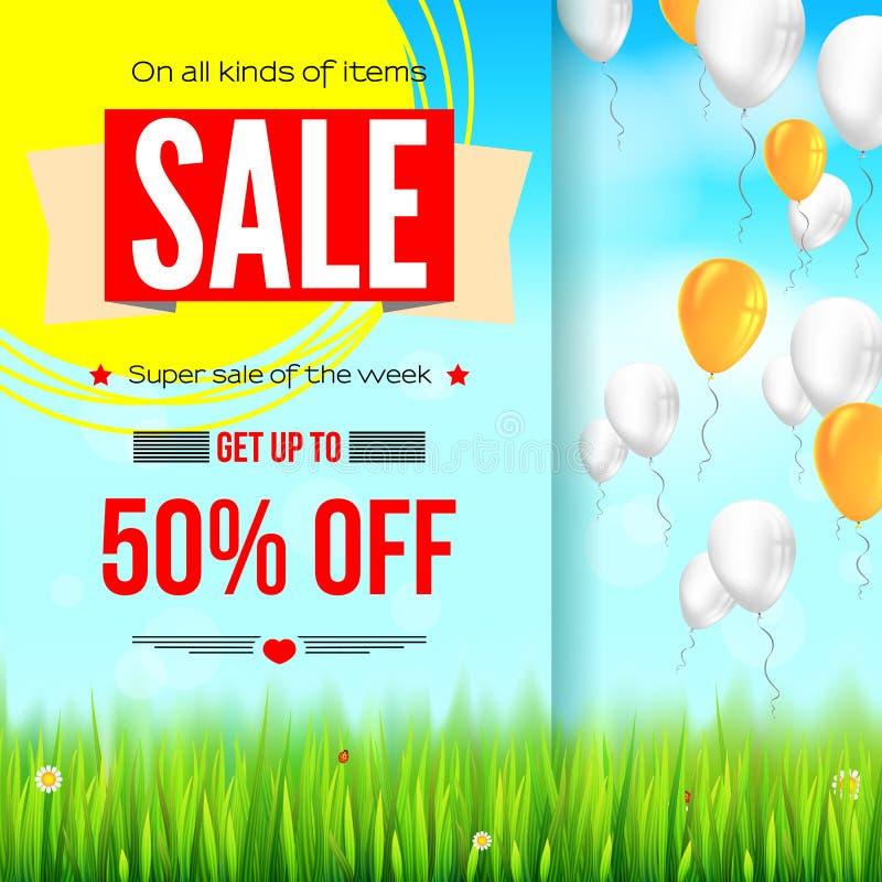 Sommar som säljer annonsbanret, tappningtextdesign Femtio procent ferierabatter, försäljningsbakgrund med den gula solen, gräspla royaltyfri illustrationer