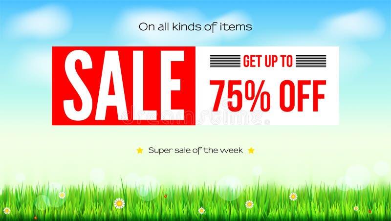 Sommar som säljer annonsbanret, tappningtextdesign Sjuttiofem procentrabatter, försäljningsbakgrund med det gröna fältet, fördunk stock illustrationer