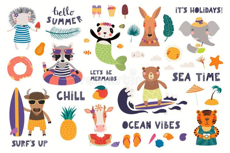 Sommar ställde in med gulliga djur stock illustrationer