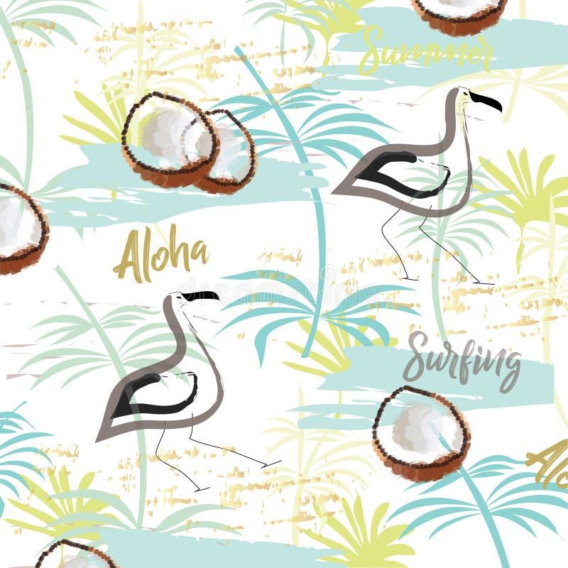 Sommar ställde in med utdragna beståndsdelar för handen - flamingo, kalligrafi, blommor, tropiska sidor, kokosnötter Göra perfekt stock illustrationer