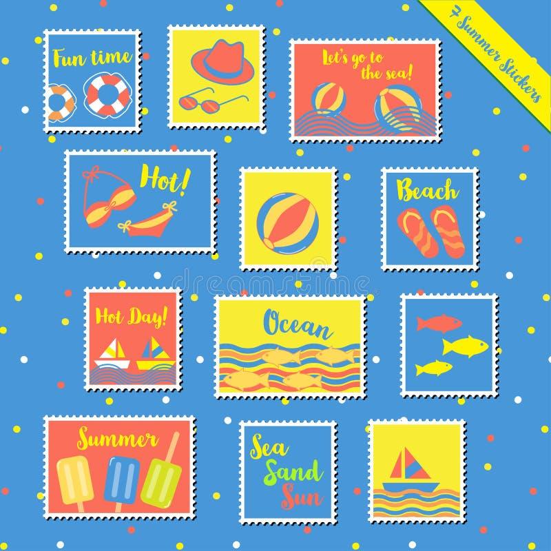Sommar stamps-2 stock illustrationer