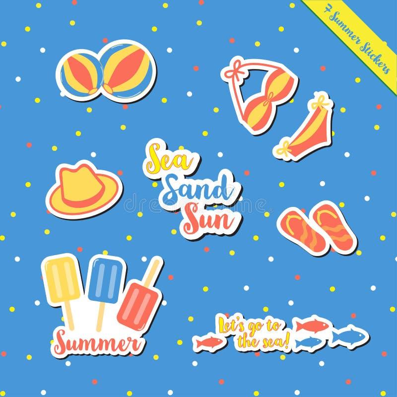 Sommar stickers-2 royaltyfri illustrationer