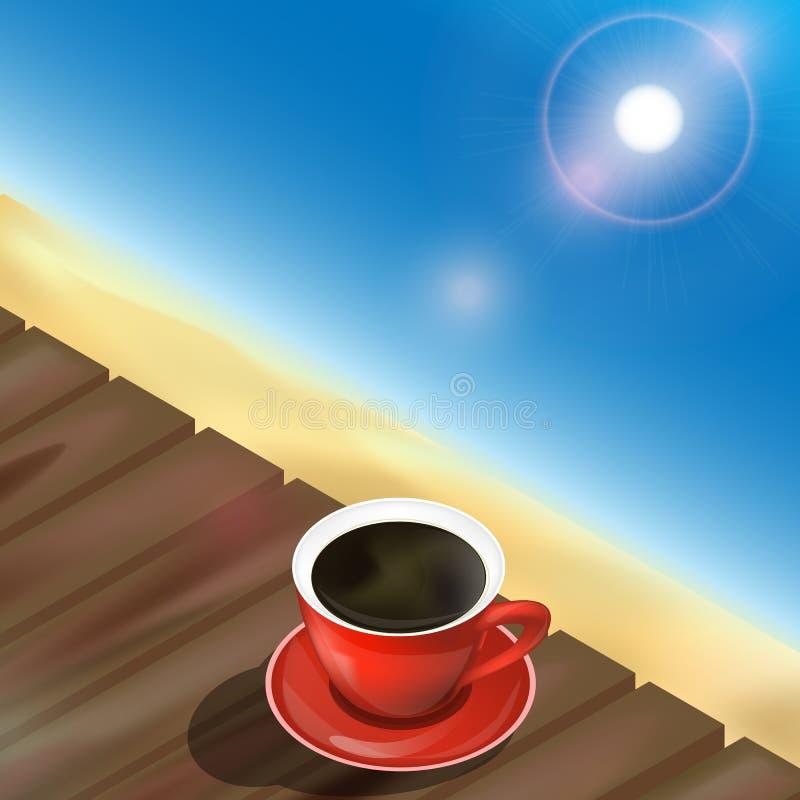 Sommar, strand, hav, trätabell och kopp kaffe Isolerad ele royaltyfri illustrationer
