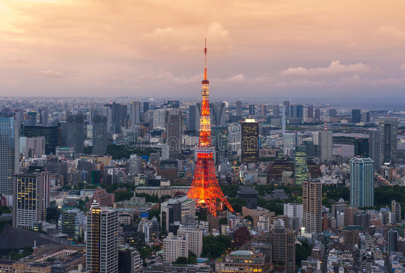 2011 sommar taget tokyo torn fotografering för bildbyråer