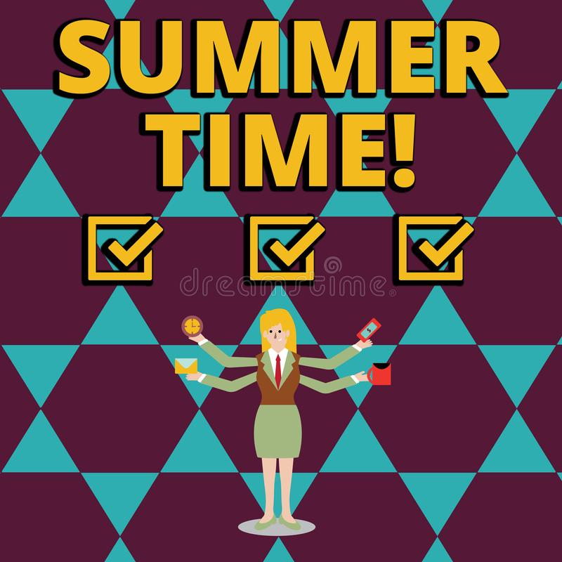 Sommar Tid för textteckenvisning Begreppsmässigt foto att uppnå längre aftondagsljussommar som ställer in klockatimme framåt vektor illustrationer
