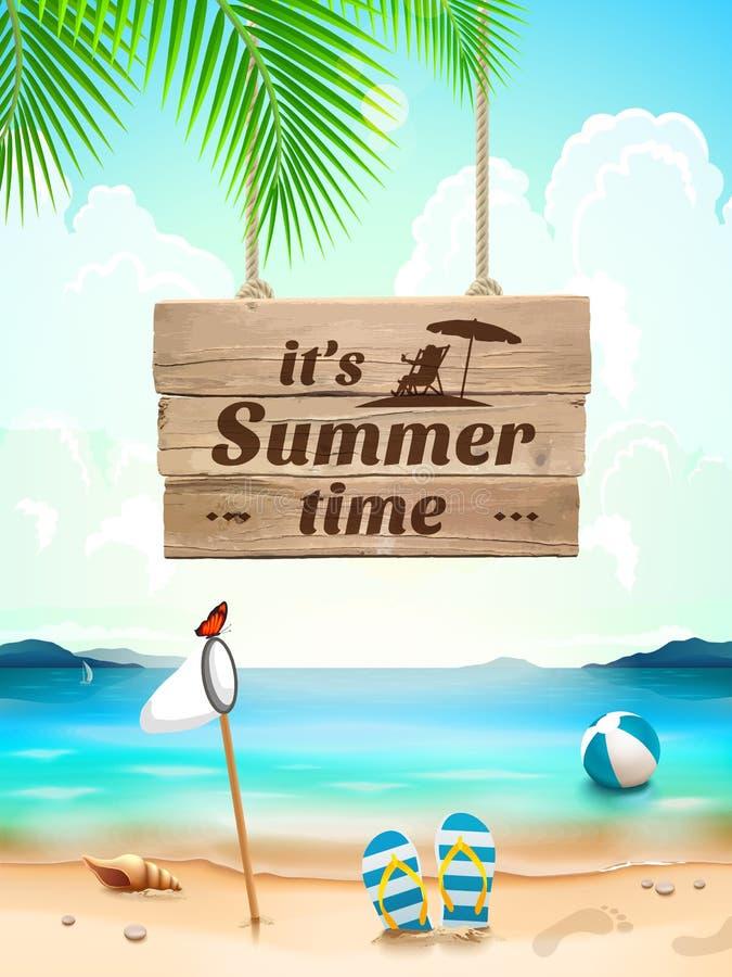 Sommar Tid på bakgrundsseascape, strand, vinkar med realistiska objekt också vektor för coreldrawillustration royaltyfri illustrationer