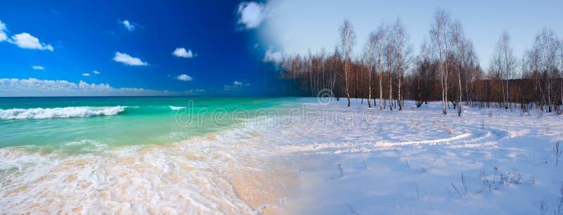 sommar till den omformande vintern royaltyfri fotografi