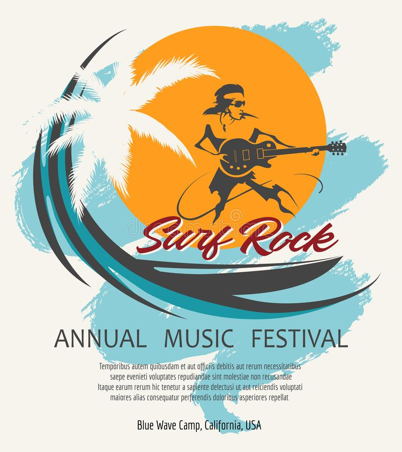 Sommar vaggar affischen för musikfestivalen i Retro stil royaltyfri illustrationer