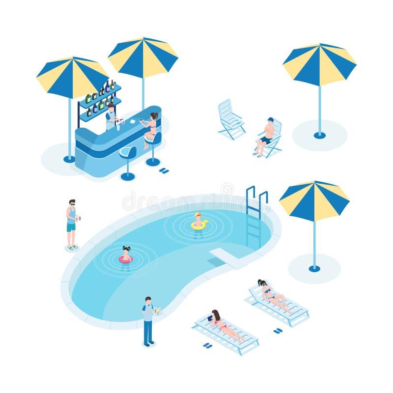 Sommar vilar nära isometrisk vektorillustration för pöl Turister med barn, tecken för tecknad film för hotellpersonal 3D little stock illustrationer