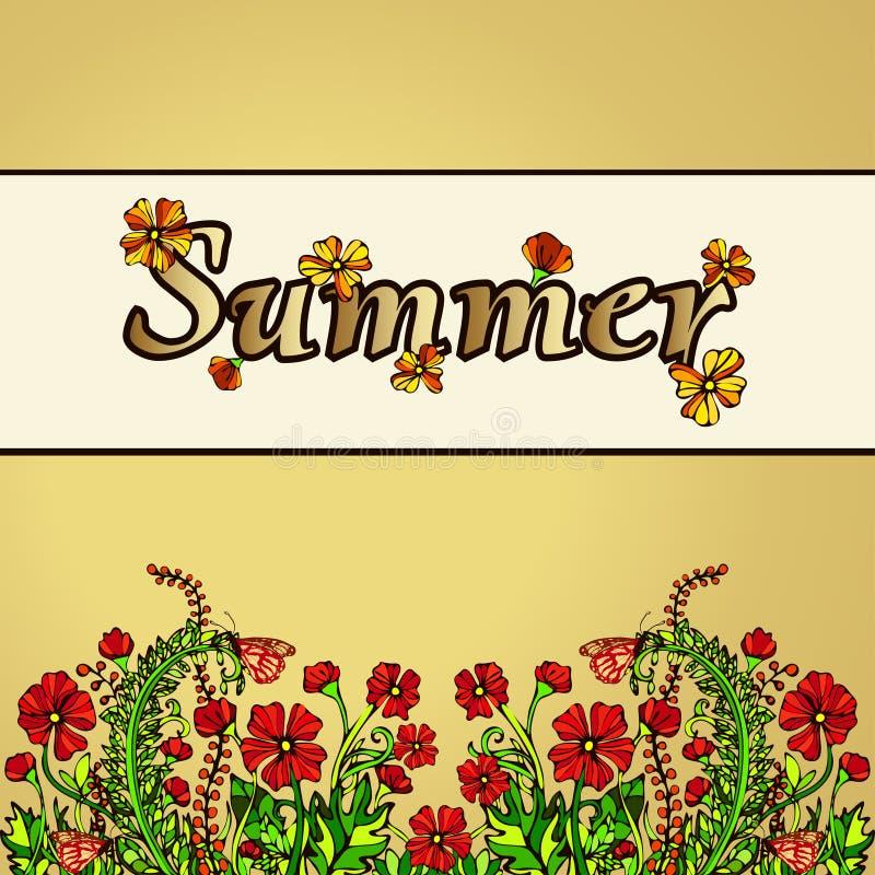 Sommarabstrakt begrepplandskap i stilen av bohostil, hippie, kort, räkning Röda blommor på en guld- bakgrund Ljust saftigt royaltyfri illustrationer