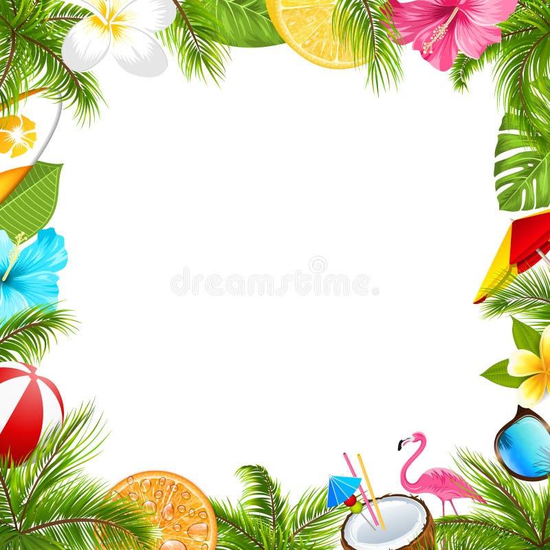 Sommaraffisch för det roliga strandpartiet, hibiskus, Frangipaniblommor, solglasögon vektor illustrationer