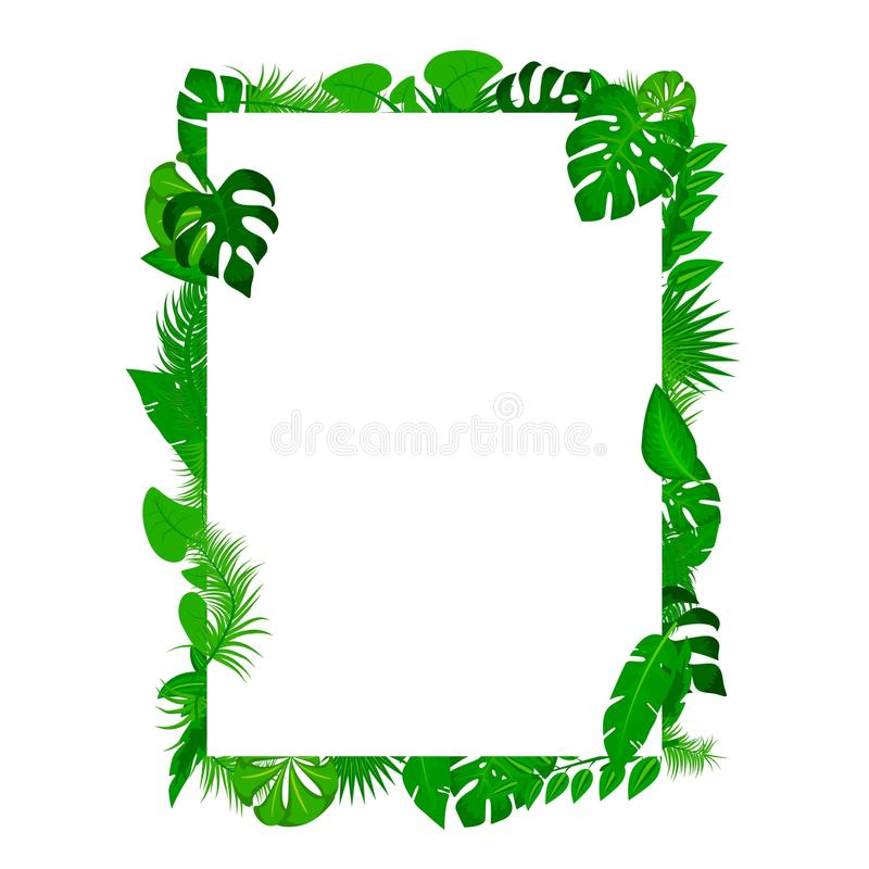Sommaraffisch Tropisk sidabakgrund med vitbok med banret för textutrymmeram Den tropiska bakgrundsvektorn gömma i handflatan stock illustrationer