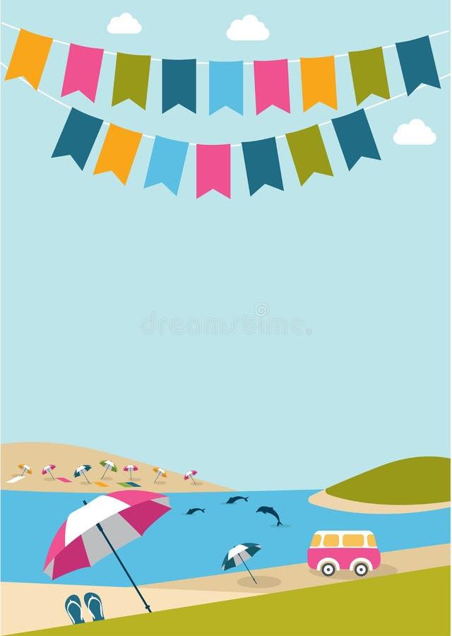 Sommaraffischen med färg sjunker delfin, skåpbilen och paraplyer royaltyfri illustrationer
