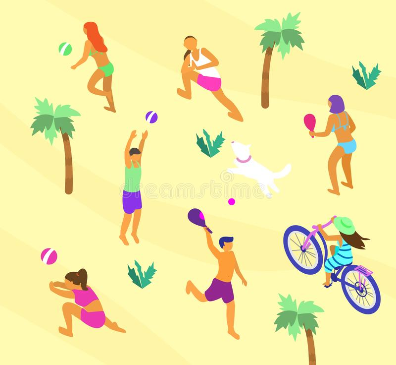 Sommaraktiviteter vektor illustrationer