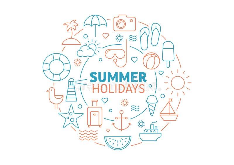Sommarbakgrund - lopp och att koppla av royaltyfri illustrationer