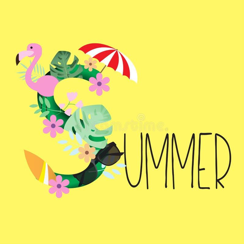 Sommarbakgrund med flamingofågeln, tropiska sidor, blomma stock illustrationer