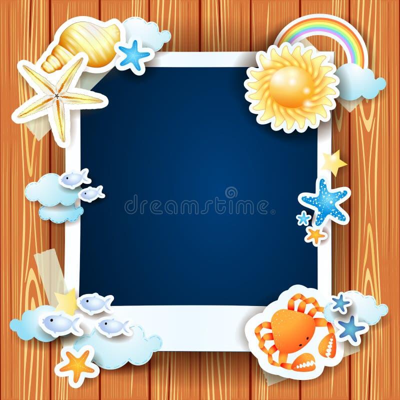 Sommarbakgrund med fotoramen och skal stock illustrationer