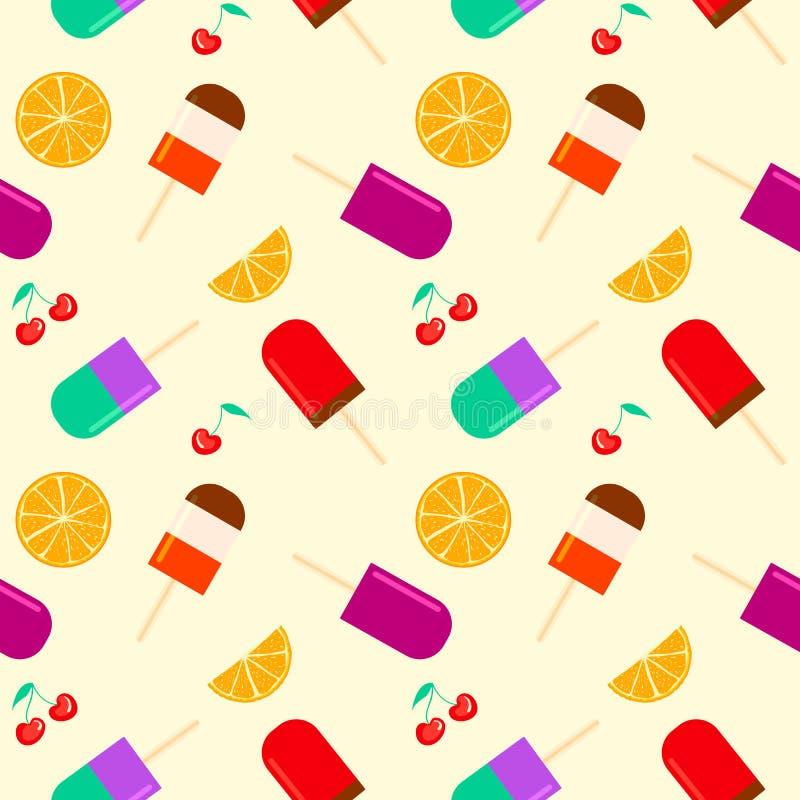 Sommarbakgrund med frukt- orange och körsbärsröd furit för isglass, sömlös modell för sommartid med glasspoppinnen stock illustrationer