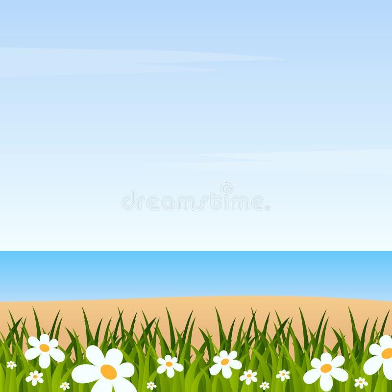 Sommarbakgrund med gräs & stranden stock illustrationer