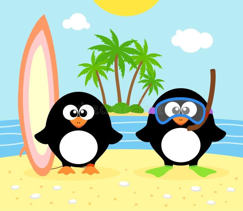 Sommarbakgrund med pingvinet royaltyfri illustrationer