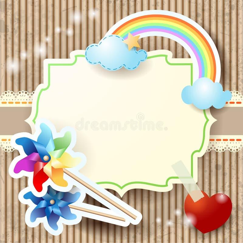 Sommarbakgrund med regnbågen och små solar stock illustrationer