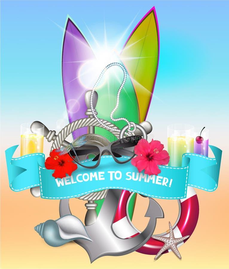 Sommarbakgrund med surfingbrädor, blommor, coctailar och några havsdesignbeståndsdelar royaltyfri illustrationer