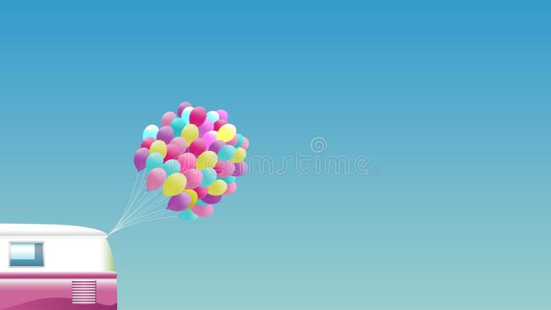 Sommarbakgrund - rosa retro skåpbil med gruppen av färgrika ballonger royaltyfri illustrationer