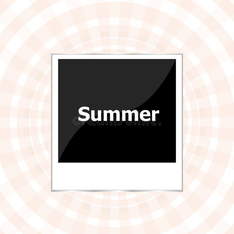 Sommarbakgrund, sommarord på den tomma fotoramen, sommarferie royaltyfri illustrationer