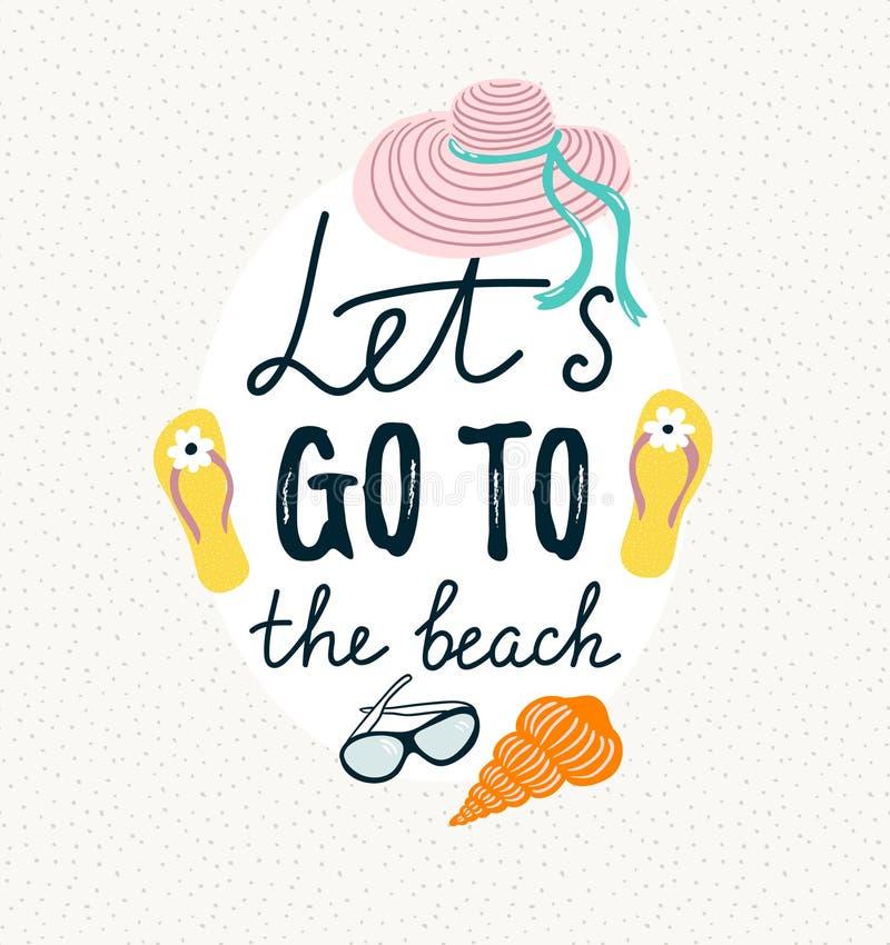 Sommarbaner med strandtillbehör Tecknad illustration för vektor hand royaltyfri illustrationer